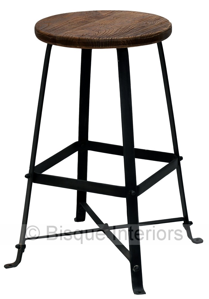 Recycled Wood Round Iron Bar Or Kitchen Stool