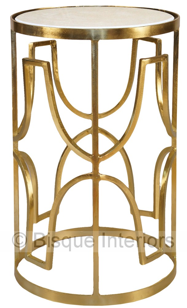 White marble and brass tall side table for Tall white side table