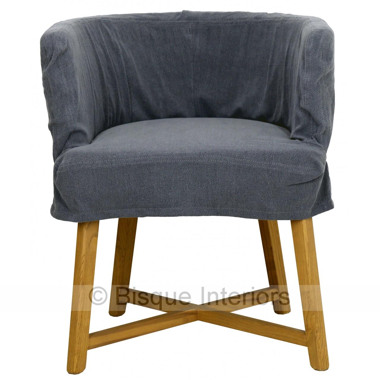 Tub Chair Charcoal Blue