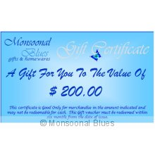 $200 Gift Certificate Please note  On Check out enter the PROMO CODE  giftvoucher to receive free postage of your gift voucher. Please Click the image for more information.