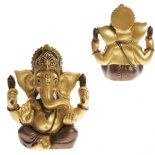 Ganesh Ganesh statue in bronze and gold finish  hand painted  made from crushed marble and rsin Please Click the image for more information.