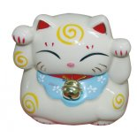 Maneki Neko Cat This Maneki Neko Cat is a money box also Made from ceramic and seated on a padded red mat and with a golden bellM. Please Click the image for more information.