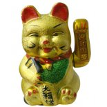 Gold Waving Cat Gold coloured Waving Cat also know as Maneki Nekono batteries included Please Click the image for more information.