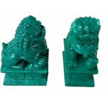 Pair of Jade finish Temple Lion statues Jade finish Temple Lion statues Designed in traditional style one male and one female Comes in padded gift box with story. Please Click the image for more information.