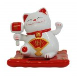 Maneki Neko, Waving Cat, Solar Statue, Red and White, H:  90 x W:  90mm Maneki Neko Waving Cat Solar Statue Red and White H  90 x W  90mmManeki Neko  The Welcoming CatAs far back as 5000 years ago the Cat has symbolised prosperity and protection for various cultures  The cat was se. Please Click the image for more information.