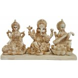 Diwali Statue - Lakshmi, Ganesha and Saraswati Diwali Statue  Lakshmi Ganesha and Saraswati IvoryCream Matt Finish H  95mm x W  180mmLakshmiHindu Goddess of Wealth Happiness and LoveAs the consort of Vishnu Lakshmi is said to take different forms in order to be with him in each of his incarnations  Born from the chu. Please Click the image for more information.