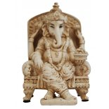 Ganesha, Elephant sitting in armchair Statue, Ivory/Cream Matt Finish, H:  150mm Ganesha Elephant sitting in armchair Statue IvoryCream Matt Finish H  150mm x W  95mm Please Click the image for more information.