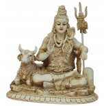 Shiva and Nandi Statue Shiva and Nandi Statue IvoryCream Matt Finish H  160mm x W  160mmIn Hinduism Shiva is depicted in many forms and is known as the Destroyer Creator and Regenerator  He is t. Please Click the image for more information.