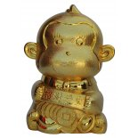 Monkey Money Box, Gold  Monkey Money Box Gold H  130mm x W  85mm Please Click the image for more information.