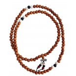 Mala Bead Necklace, tan brown with white & black spacers and Vajra, Mala Bead Necklace tan brown with white  black spacers and Vajra 8mm Please Click the image for more information.