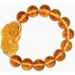 Pi Yao/Pi Xiu Mala Bead Bracelet, Yellow Glass Pi YaoPi Xiu Mala Bead Bracelet Yellow Glass Citrine Colour 13mm beads Please Click the image for more information.