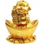 Monkey holding coins and sitting on ingot Money Box, Monkey holding coins and sitting on ingot Money Box Shiny Gold H  280 x W 220 x D  145mm Please Click the image for more information.