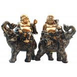 Travelling Laughing Buddhas sitting on elephant statues, pair, Antique Bronze an Travelling Laughing Buddhas sitting on elephant statues pair Antique Bronze and Gold each piece approximately  H 175 x W 150 x D  85mmTravelling BuddhasSafety on your TravelsSitting on their elephants the Travelling Laughing Buddhas will pass by collecting your sadness and woes in their sack while sharing their wisdom and abundance of knowledge  With their mantr. Please Click the image for more information.