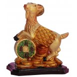 Goat/Sheep Statue, Peach Gold on Black Stand, H: 85 x W: 73 x D: 50mm GoatSheep Statue Peach Gold on Black Stand H 85 x W 73 x D 50mm Please Click the image for more information.