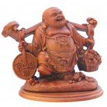 Laughing Buddha with Ruyi on Shoulders Statue, Tan Brown, H105 x W100 x 85mm Laughing Buddha with Ruyi on Shoulders Statue Tan Brown H105 x W100 x 85mmThis travelling Buddha shows the ruyi sceptre or wishing sceptre balancing the desire for wealth and abundance the basket of many ingots with the wisdom and protection of the I Ching coin  Remindin. Please Click the image for more information.