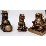 3 Celestial Protectors 3 Celestial Protectors  Dragon Pi Yao and Kilin Antique Gold Size noted for the biggest point H 90 W  62 D  70mmThe Pi Yao Pi Xiu represents abundance in money luck  The Dragon high. Please Click the image for more information.