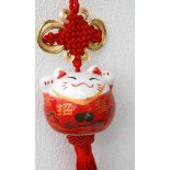 Maneki Neko, Good Luck Cat Ceramic Hanging Maneki Neko Good Luck Cat Ceramic Hanging Red on Red cord H  320 x W 55 x D  55mmManeki Neko  The Welcoming CatAs far back as 5000 years ago the Cat has symbolised prosperity and protection for various cultures  The cat was se. Please Click the image for more information.
