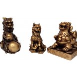 3 Celestial Protectors (Three killings) 3 Celestial Protectors  Dragon Pi Yao and Kilin Antique Gold Size noted for the biggest point H 90 W  62 D  70mmThe Pi Yao Pi Xiu represents abundance in money luck  The Dragon high. Please Click the image for more information.