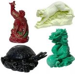 Celestial Animal Statues Set of 4 The Red Phoenix of the South for success the Black Turtle of the North for careers the green Dragon of the East for good luck and the White Tiger of the West for protection. Please Click the image for more information.