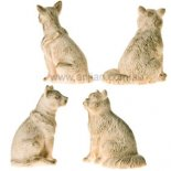 Cat Statues, Set of 2, Ivory & Gold, 60mm pair of cats figurine Made from crushed marble and resin composite Please Click the image for more information.