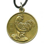 Rooster Chinese Character, round Round Year of the AnimalRooster pendent on black cord Please Click the image for more information.