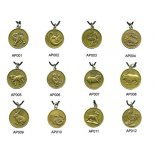 Set of  Chinese Animals Character, round Round Year of the Animalset of 12 pendents on black cord Please Click the image for more information.