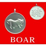 Boar round Double Sided Character (Secret Friend Tiger) Boar round Chinese year of Animal with Calligraphy pendent on black cordThe Pig is the Secret Friend of the TigerThe Allies of the Pig Boar are Rabbit and Sheep Please Click the image for more information.