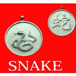 Snake round Double Sided Character (Secret Friend of the Monkey) Snake round Chinese year of Animal iwith Calligraphy pendent on black cordThe Snake is the Secret Friend of the MonkeyAllies of the Snake are Rooster and Ox Please Click the image for more information.