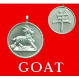 Goat round Double Sided Character/Chinese Calligraphy Matt Pewter Astrology Pend Goat round Chinese year of Animal with Calligraphy pendent on black cord Please Click the image for more information.