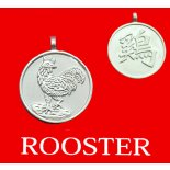 Rooster round Double Sided Character (Secret Friend of the Dragon) Rooster round Chinese year of Animal with Calligraphy pendent on black cordThe Rooster is the Secret Friend of the DragonThe Allies for the Rooster are Ox and Snake Please Click the image for more information.