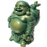 Laughing Buddha Statue, Standing, Aqua Blue/Gold 90mm Laughing Buddha Statue Standing  Please Click the image for more information.