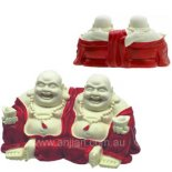 "Laughing Buddha Brothers Statue, ""Double Good Luck"", Ivory with Red Robe, 50mm x Laughing Buddha Brothers Statue Double Good Luck   in white with red coats Please Click the image for more information."