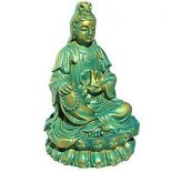 Quan Yin Statue Aqua Blue/Gold 95mm Quan Yin statue sitting holding vase of Compassion Goddess of Mercy and Compassion Also known as Guan Yin and Kwan YinQua. Please Click the image for more information.
