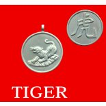 Tiger round Double Sided Character (Secret Friend of the Pig) Tiger round Chinese year of Animal with Calligraphy pendent on black cordSecret Friend of the PigAlly of the  Dog  and HorseTigers Secret Friends are Pig Allies are Horse and Dog. Please Click the image for more information.