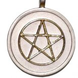 Golden pentagram on silver pendent on black cord.. Golden pentagram pendent on silver on a black cord 5 pointed starAlso known as pentalpha or pentangle The word pentagram comes from the Greek word pentagrammon meaning 5 lines The Gre. Please Click the image for more information.