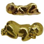 "Baby lying on stomach, Shiny Gold H:  22mm x W:  60mm, ""Tiny Bundle of Joy""   baby lying on tummy statue  in gold finish to represent the value of a child An original design by Annie. Please Click the image for more information."