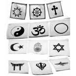 Interfaith Flags, set of 12 faith symbols Interfaith flags made from whote cotton and screen printed Designed by Annie Each square is 145mm x 140mm  B. Please Click the image for more information.
