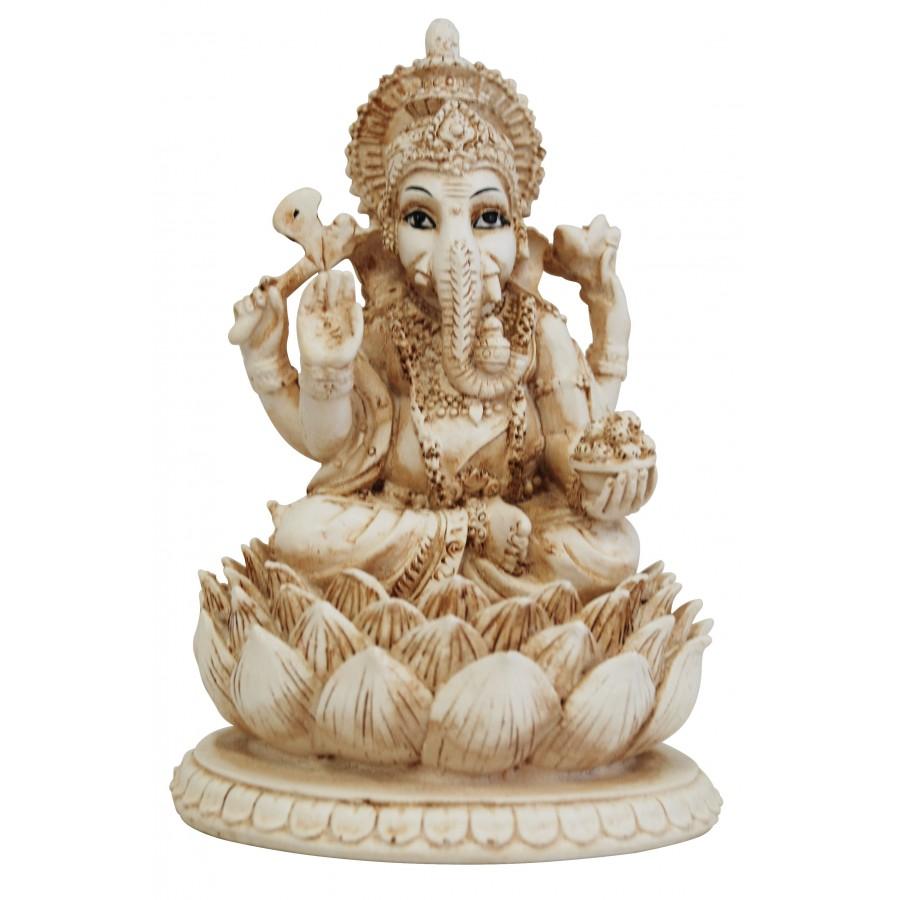 Ganesha Elephant With Legs Crossed Sitting In Lotus Flower Statue