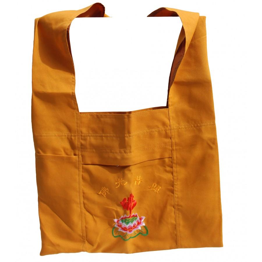 Buddhist Prayer Shoulder Bag with Lotus Symbol, Peanut Brown