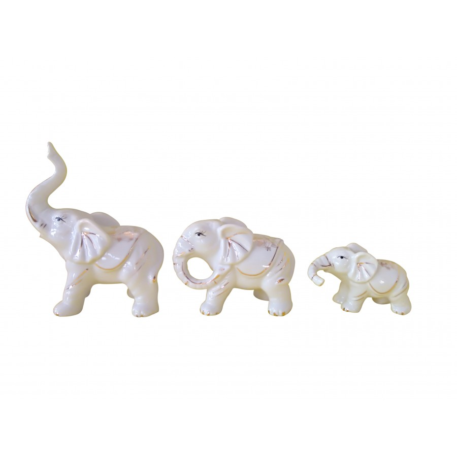 Elephant Statues, White with Roses, Gold, Ceramic, Set of 3