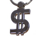 Wealth Dollar keyring The Dollar symbolising wealth in a silver keyring Please Click the image for more information.