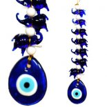 Evil Eye and Elephants hanging Set of seven glass elephants with eveil eye to symbolise protection and successFor hundreds of years the Evil Eyealso known as Nazar Boncuk in Turkey was used as an amulet to ward of evil intentions such as envy and misfortune The string of se. Please Click the image for more information.