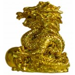 Shiny Gold Dragon statue A shiny gold Dragon statue that is compact and comes in a gift box with story card Made from marble and resin composite. Please Click the image for more information.