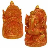 Ganesha figurine in golden orange This small almost pocket size Ganesha statue is made from crushed marble and resin composite Beautifully detailed . Please Click the image for more information.