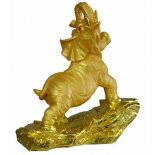 Golden Elephant statue Two tones of gold in this lifelike Elephant statue standing majestically with one leg raised to display his strength . Please Click the image for more information.