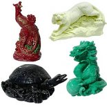 Set of four Feng Shui Celestial Animal statues Set of four Feng Shui Celestial Animal statuesThe Red Phoenix the Green Dragon the White Tiger and the Black turtleall in gift box with information on their correct placement and meaningMade from resin and stone composite Please Click the image for more information.