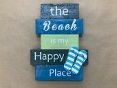 The Beach Is My Happy Place Block Sign  Please Click the image for more information.