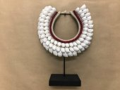 Tribal Necklace(White Shells & Red Beads)  Please Click the image for more information.