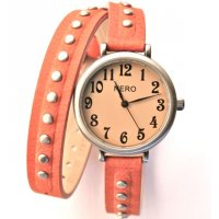 Madeline Black nubuck studded leather band double wrap watch Please Click the image for more information.