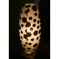 Large Spotted light shade This hand made paper shade with large black spots on a natural background gives a soft diffuse light. Please Click the image for more information.